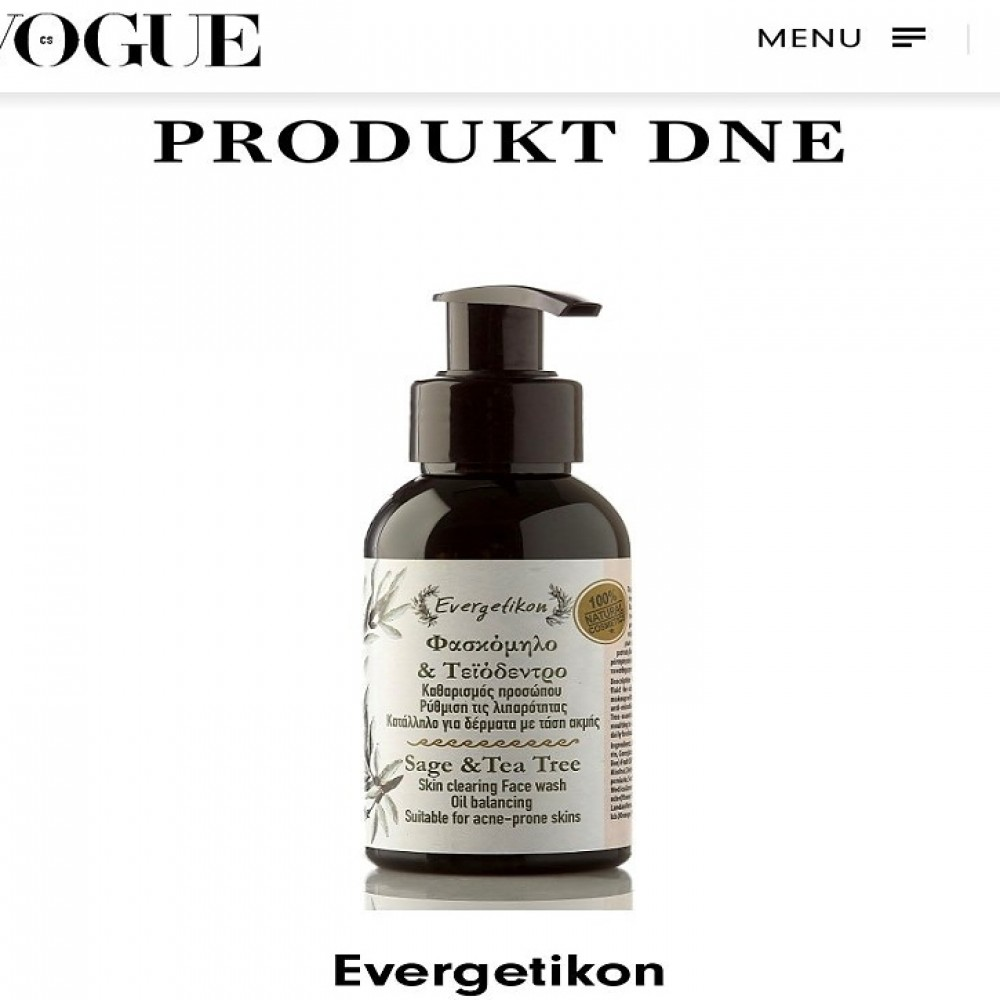In Vogue the face cleanser Evergetikon.